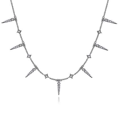 14k White Gold Alternating Diamond Spike Fashion Necklace