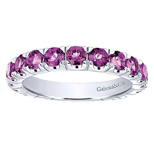 14k White Gold Amethyst Stackable Ladies