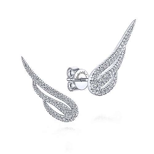 Gabriel - 14k White Gold Angel Wing Diamond Stud Earrings