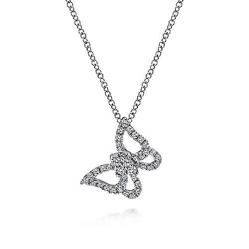 14k White Gold Angled Diamond Butterfly Necklace