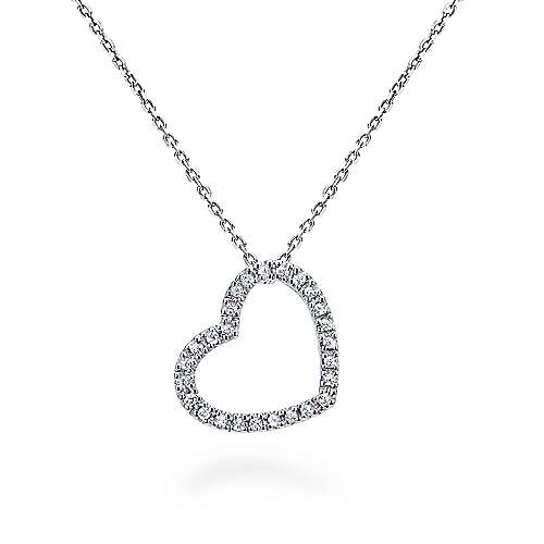 14k White Gold Angled Open Heart Diamond Necklace