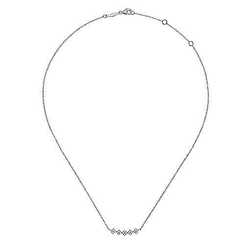 14k White Gold Art Moderne Bar Necklace angle 2