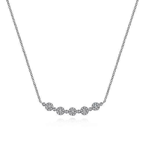 14k White Gold Art Moderne Bar Necklace angle 1