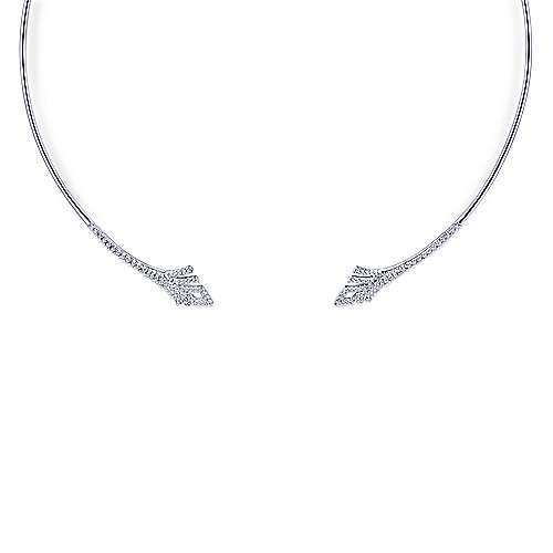 14k White Gold Art Moderne Choker Necklace