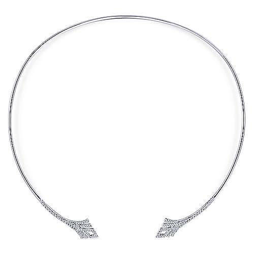 14k White Gold Art Moderne Choker Necklace angle 2