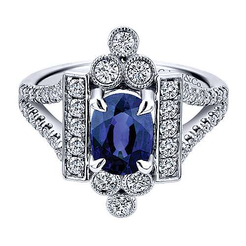 14k White Gold Art Moderne Classic Ladies' Ring angle 1