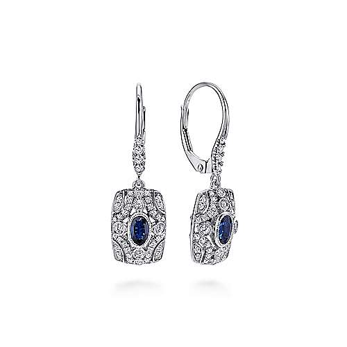 Gabriel - 14k White Gold Art Moderne Drop Earrings