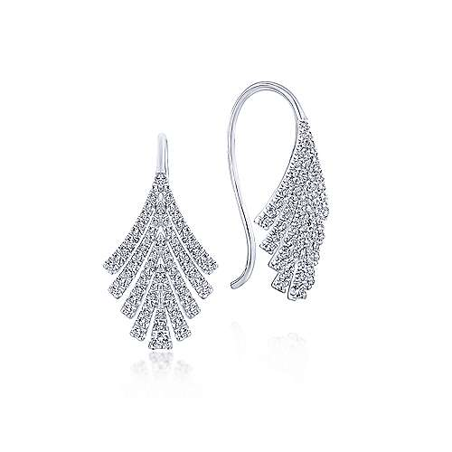 14k White Gold Art Moderne Drop Earrings