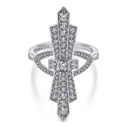 Gabriel - 14k White Gold Art Moderne Fashion Ladies' Ring