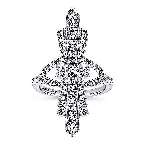 14k White Gold Art Moderne Fashion Ladies' Ring angle 4