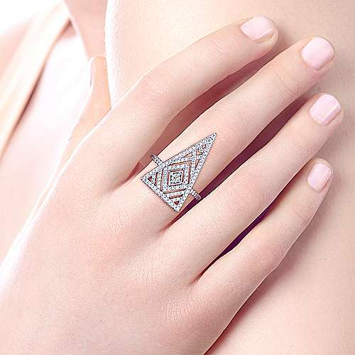 14k White Gold Art Moderne Fashion Ladies' Ring angle 5