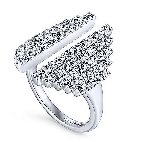 14k White Gold Art Moderne Fashion Ladies' Ring angle 3