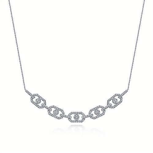Gabriel - 14k White Gold Art Moderne Fashion Necklace