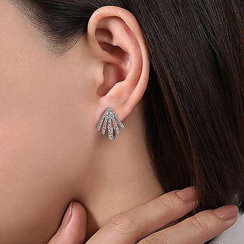 14k White Gold Art Moderne Huggie Earrings angle 2