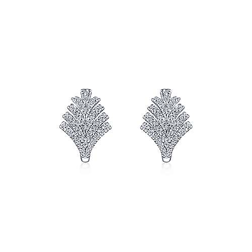 14k White Gold Art Moderne Huggie Earrings angle 3