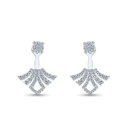 Gabriel - 14k White Gold Art Moderne Peek A Boo Earrings