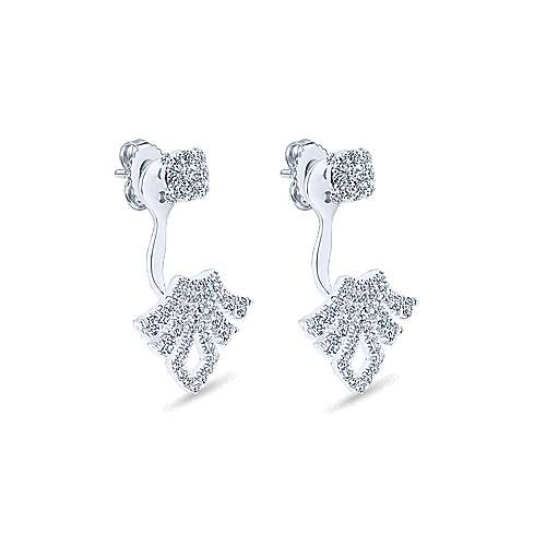 14k White Gold Art Moderne Peek A Boo Earrings angle 2