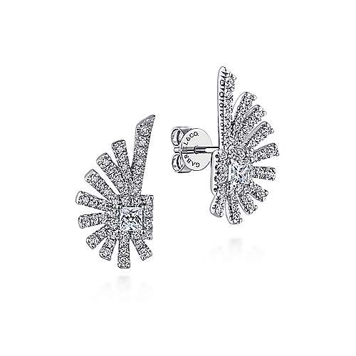 Gabriel - 14k White Gold Art Moderne Stud Earrings