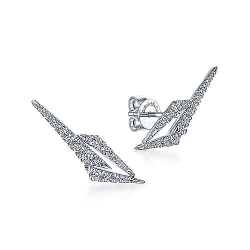 14k White Gold Art Moderne Stud Earrings