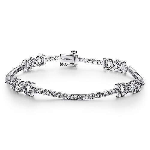 14k White Gold Art Moderne Tennis Bracelet