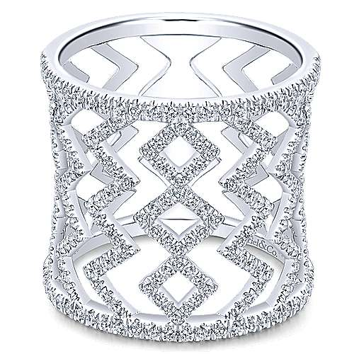 Gabriel - 14k White Gold Art Moderne Wide Band Ladies' Ring