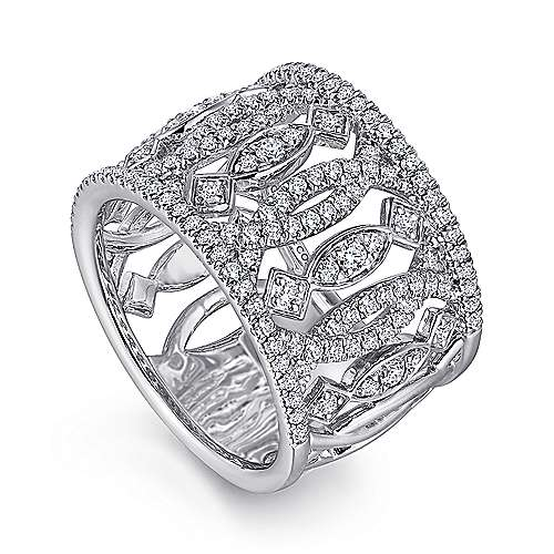 14k White Gold Art Moderne Wide Band Ladies' Ring angle 3