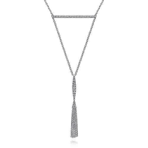 14k White Gold Art Moderne Y Knots Necklace