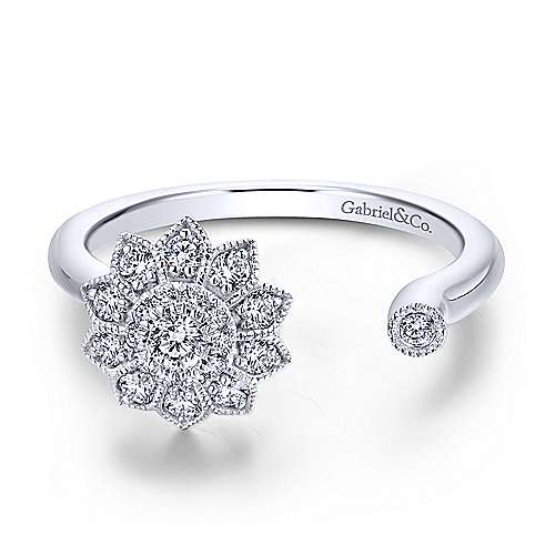 Gabriel - 14k White Gold Asymmetrical Floral Diamond Fashion Ring