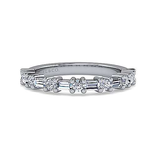 14k White Gold Baguette and Round 13 Stone Diamond Anniversary Band