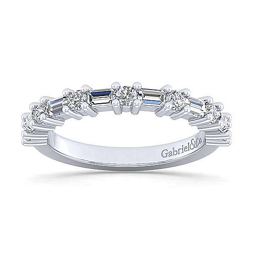 14k White Gold Baguette and Round 13 Stone Diamond Anniversary Band angle 5