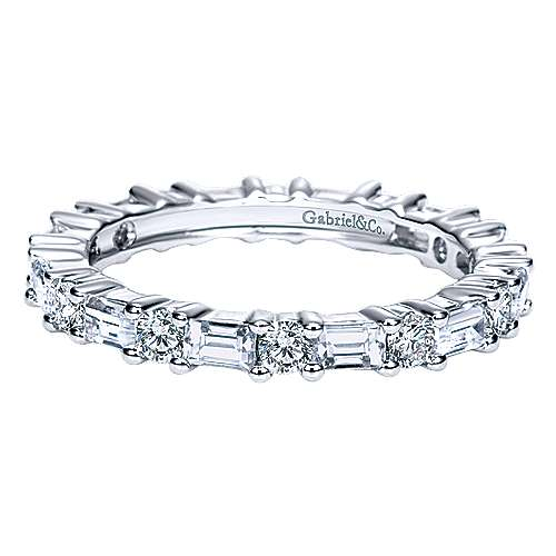 Gabriel - 14k White Gold Baguette and Round Prong Set Eternity Band