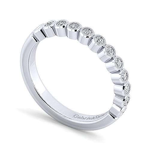 14k White Gold Bezel Set Round 12 Stone Diamond Anniversary Band angle 3