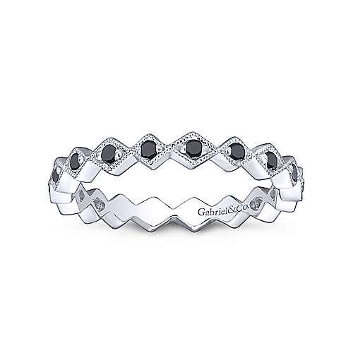 14k White Gold Black Diamond Stackable Ladies