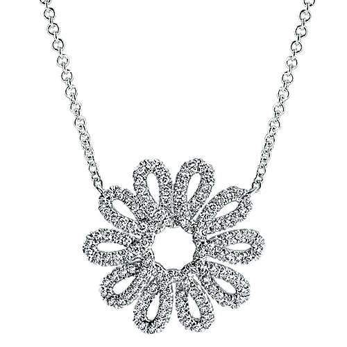 Gabriel - 14k White Gold Blossoming Heart Fashion Necklace