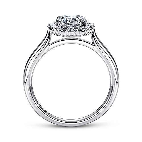 14k White Gold Bold Diamond Halo Rounded Shank Engagement Ring angle 2