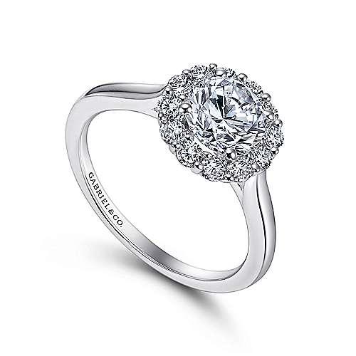 14k White Gold Bold Diamond Halo Rounded Shank Engagement Ring angle 3