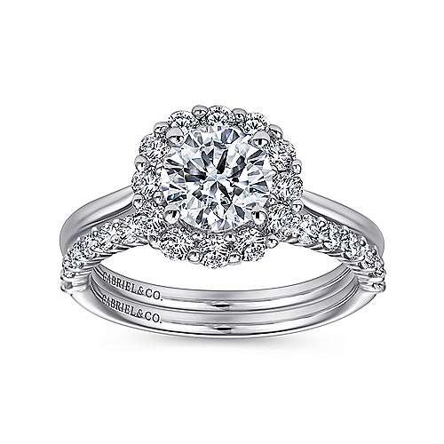 14k White Gold Bold Diamond Halo Rounded Shank Engagement Ring angle 4
