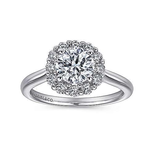14k White Gold Bold Diamond Halo Rounded Shank Engagement Ring angle 5
