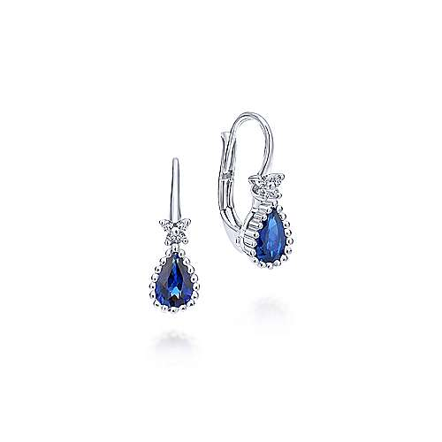14k White Gold Bombay Drop Earrings angle 1