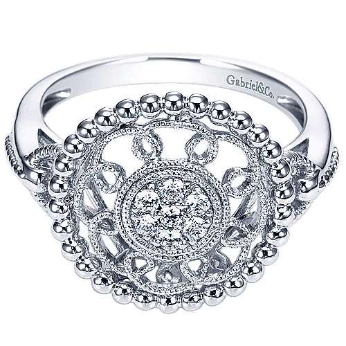 Gabriel - 14k White Gold Bombay Fashion Ladies' Ring