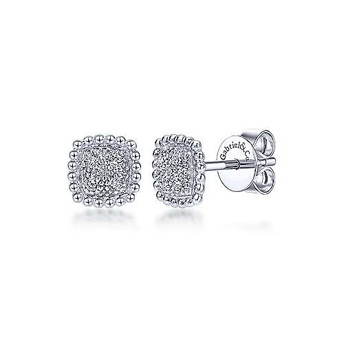 Gabriel - 14k White Gold Bombay Stud Earrings