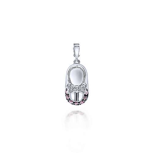 14k White Gold Bootee Charm Pendant angle 1