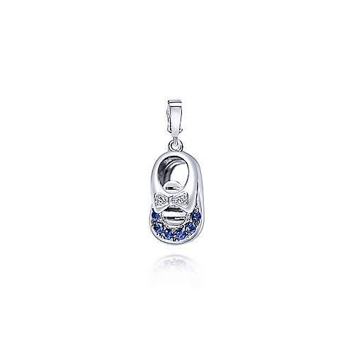 14k White Gold Bootee Charm Pendant