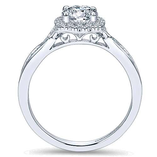 14k White Gold Bow Tie Shank Round Diamond Halo Engagement Ring angle 2