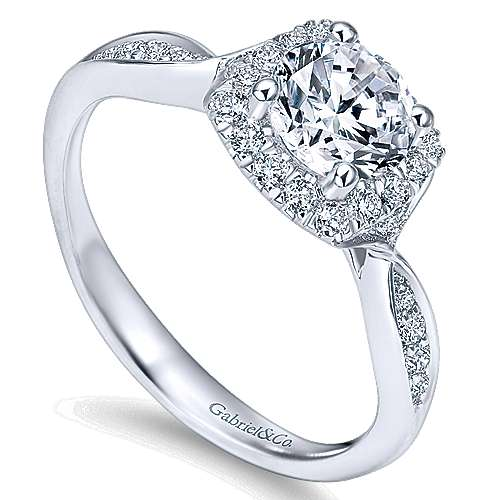 14k White Gold Bow Tie Shank Round Diamond Halo Engagement Ring angle 3