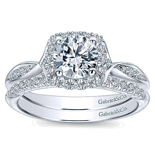 14k White Gold Bow Tie Shank Round Diamond Halo Engagement Ring angle 4