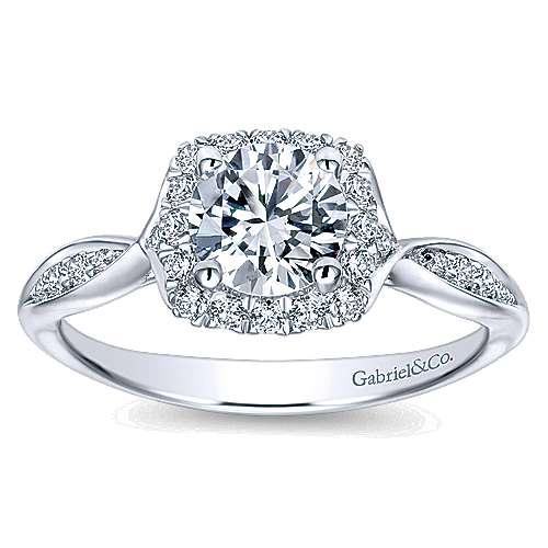 14k White Gold Bow Tie Shank Round Diamond Halo Engagement Ring angle 5