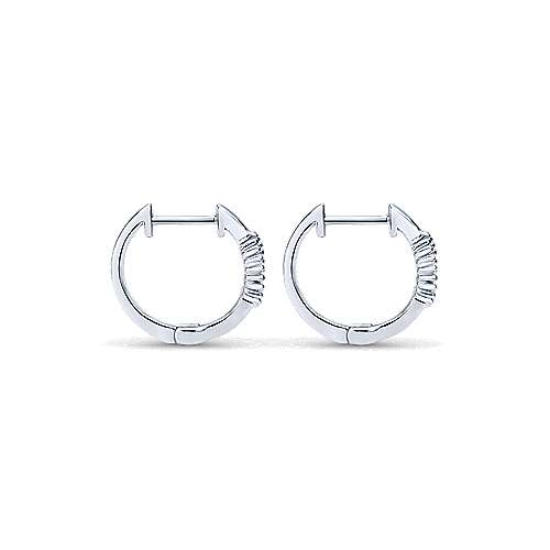 14k White Gold Bujukan Huggie Earrings