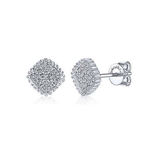 14k White Gold Bujukan Stud Earrings