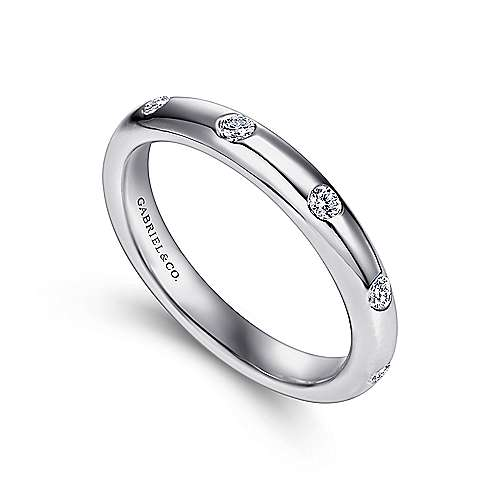 14k White Gold Burnished Set Round 5 Stone Diamond Anniversary Band angle 3